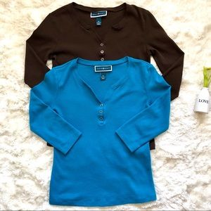 Karen Scott Bundle of Brown & Turquoise Henleys PS